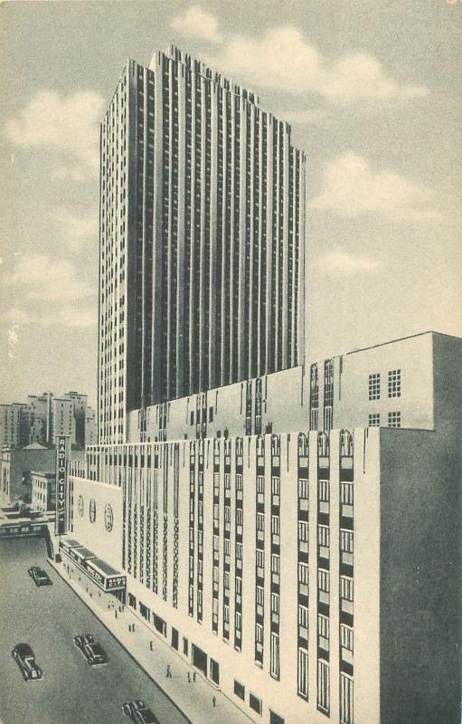 New York Radio City Music Hall Black and White Vertical View Curteich Postcard
