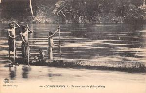 Republic of Congo Francais, En route pour la peche (Alima) river Oyo, pirogue