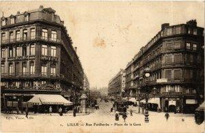 CPA Nord LILLE Rue Faidherbe Place de la Gare (983926)