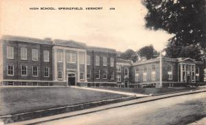 High School, Springfield, Vermont, Early Postcard, Unused