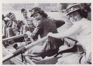 USA US Red Cross With GI Girls Boat Rowing Wartime Military WW2 War Postcard