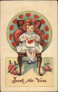 Valentine - Little Girl in Chair - Stand-Up Fold Back Card - No PC Markings