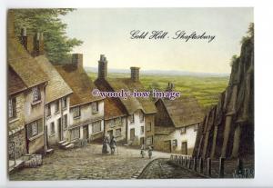 tq2896 - Dorset - Top of Gold Hill in Shaftsbury, Artist - Kevin Platt- Postcard