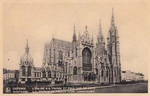 Ostende Cathedrael St Pierre Paul Church Belgium Old Postcard
