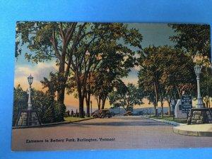 1900's linen postcard of Battery Park and Lake Champlain, Burlington, VT
