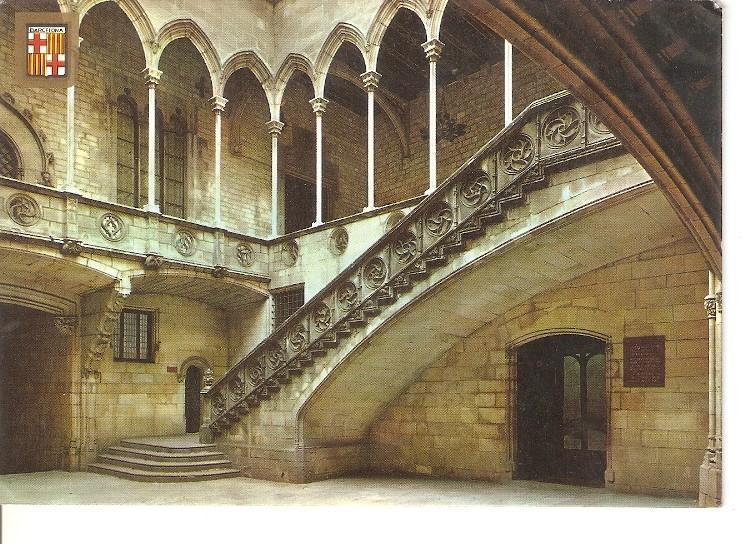 Postal 050437 : Barcelona. Palau de la Generalitat. Escalera y Galeria Gotica