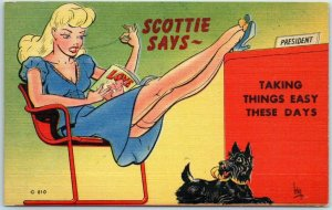 Vintage PIN-UP GIRL Postcard Artist-Signed IRBY Scottie Dog #810 MWM Linen 1940s