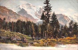 Wengen Alpenlandschaft und Jungfrau Switzerland 1908