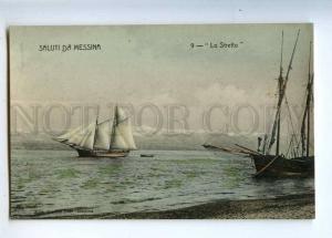 233068 ITALY Saluti da MESSINA ships yacht Vintage postcard