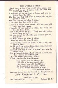 The World is Mine, Tennyson Poem, John Urquhart Advertising Sydney, Nova Scotia