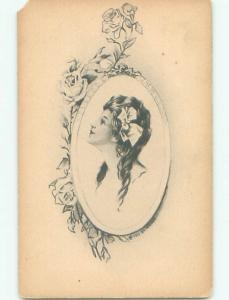 Pre-Linen art nouveau SIDE PROFILE OF YOUNG WOMAN IN MIRROR WITH FLOWERS k7415