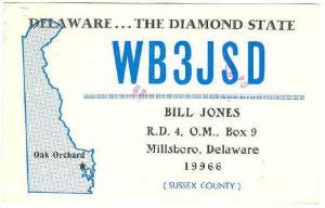 WB3JSD, Radio W45EY, Bill Jones, Millsboro, Delaware, PU-1980