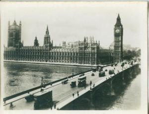 London, Houses of Parliament and Westminster Bridge, 1910s-20s Real Photo