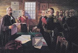 Painting of Governor Douglas Taking Oath at Ft. Langley, British Columbia, Ca...