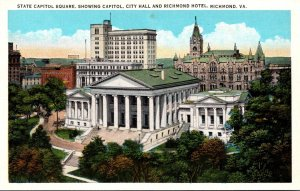 Virginia Richmond State Capitol Square Showing Capitol City Hall and Richmond...