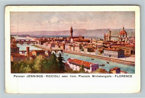 Pension Jennings Riccioli Piazzale Michelangiolo Florence Italy Vintage Postcard