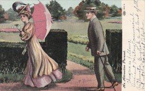 An Attractive Parasol Man Following Woman 1908