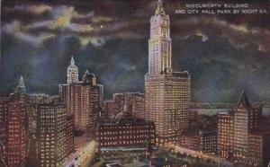 New York City Woolworth Building and City Hall Park By Night