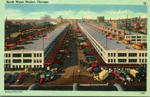 Vtg Linen Postcard South Water Market Chicago Illinois IL - UNP Trucks Warehouse