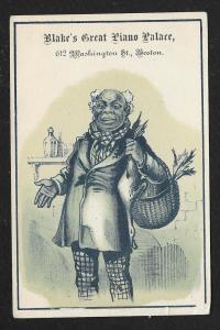 VICTORIAN TRADE CARD Blake's Great Pianos Black Man w/Basket