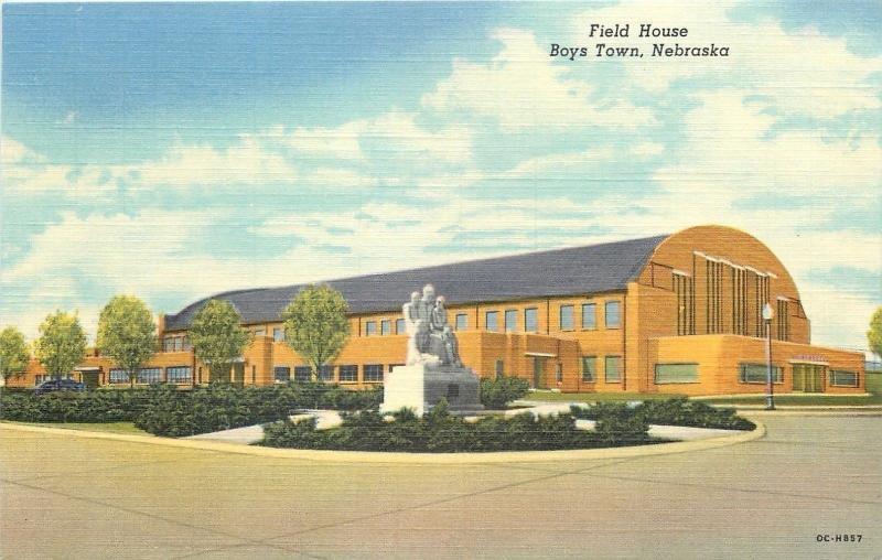 Boys Town Nebraska~Field House~Monument~View From Parking Lot~1950 Postcard