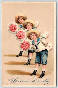 PFB~3 Identical Sailor Boys Bring Pink Rose Bouquets~Cards~Embossed~Serie 9896