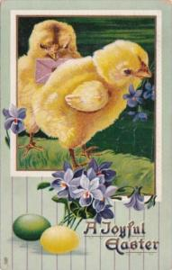 Joyful Easter Young Chicks With Easter Eggs and Purple Flowers Tucks
