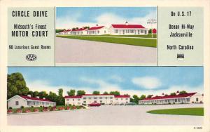 North Carolina Jacksonville  Circle Drive Motor Court Motel