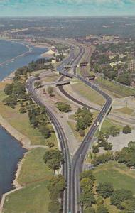 The Parkway Fred Gardiner Expressway looking west along the shore of Lake O...