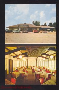 MOUNT VERNON IOWA HOLIDAY HOUSE RESTAURANT 1960's CARS ADVERTISING POSTCARD