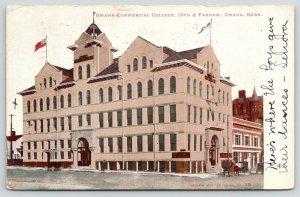 Omaha Nebraska~Omaha Commercial College~19th & Farnam~Pennant on Roof~1906