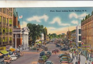 P1742 vintage traffic congestion main st. scene nashua N.H. w/wingate,s store