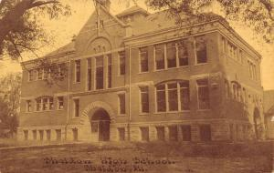 Sheldon Illinois~Sheldon High School~1908 CU Williams Brownette Postcard~Sepia