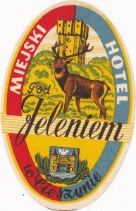 Poland Miejski Hotel Jeleniem Vintage Luggage Label sk1601