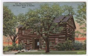 Newcom Tavern Log Cabin Oldest House in Dayton Ohio 1949 postcard