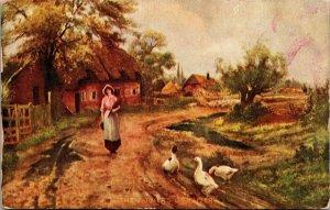 FARM - Trail - Farm Maid woman - Animals - Chicken - Art Vintage Postcard