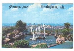 The fountain of the club over looking the City in the background, Birmingham,...