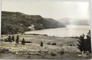 Old Vintage Real Photo Postcard RPPC Pagent Park & Crystal Lake Barton, Vermont