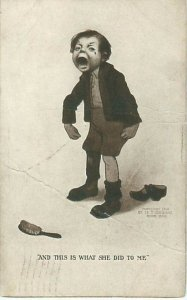 Crying Bratty Boy, Forced to Clean Up, Humorous Postcard
