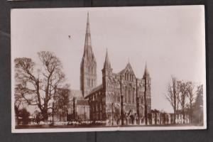 Real PhotoSalisbury Cathedral West Front Side Salisbury, England - Used 1946