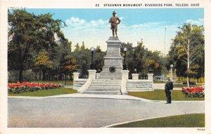 Toledo Ohio 1930s Postcard Steedman Monument Riverside Park