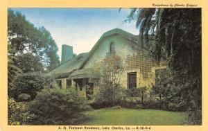 Lakes Charles Louisiana Fontenot Residence Vintage Postcard J59186