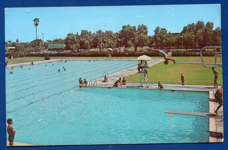 Laredo Texas Tx Near Civic Center Swimming Pool Chrome Postcard 2