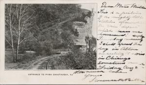 Entrance to Piasa Chautaugua Illinois IL Trolley Station c1906 Postcard D93