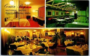Burley, Idaho Postcard Cousin Roy's NATIONAL HOTEL Room View Restaurant 1960s