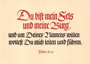 HOLY BIBLE VERSE~PSALM 31 VERSE 4~WRITTEN IN GERMAN POSTCARD