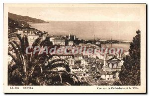 Old Postcard Bastia View Of The Cathedral And The City
