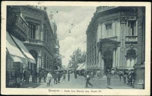 argentina, ROSARIO, Calle San Martin esq. Santa Fé (1928)