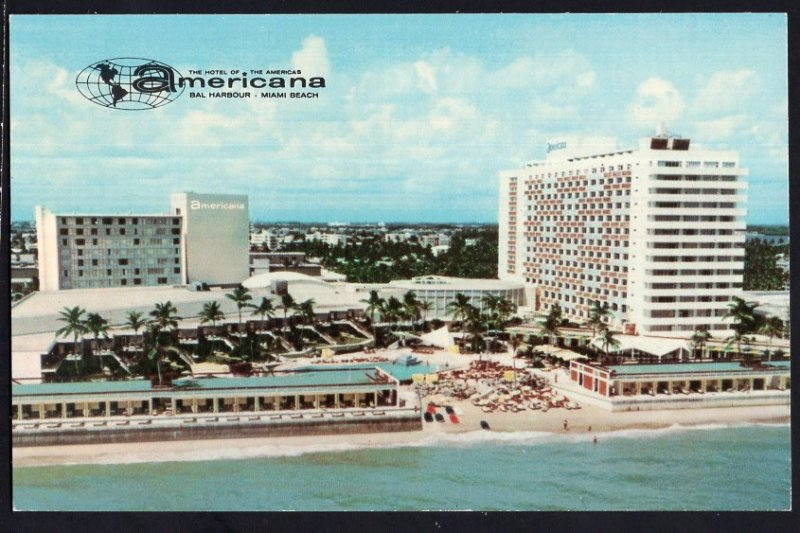 Florida Americana Bal Harbour Oceanfront 97th Str MIAMI BEACH Chrome 1950s-1970s