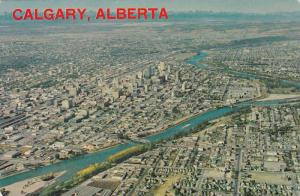 Aerial View of The Bow River, Calgary, Alberta, Canada, 40-60´s
